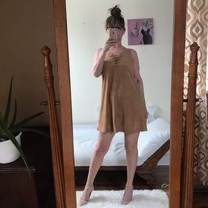 SLEEVELESS FAUX SUEDE DRESS LACES TAN A LINE